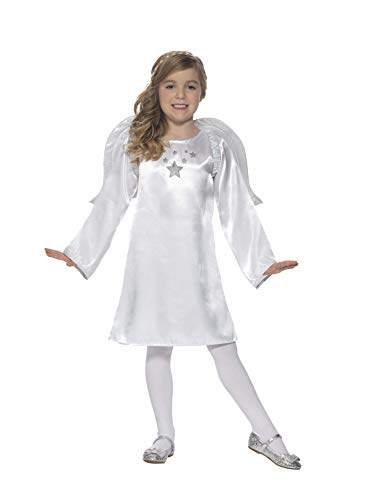 Smiffys Kinder Mädchen Engel Kostüm, Tunika und Flügel, Alter: 4-6 Jahre, 45634
