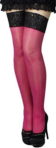 Halterlose Strümpfe 20 den leicht glänzend versch. Spitzenabschlüsse mit Silikon alle Farben und Größen für Braut Hochzeit (L, rosa-pink) -