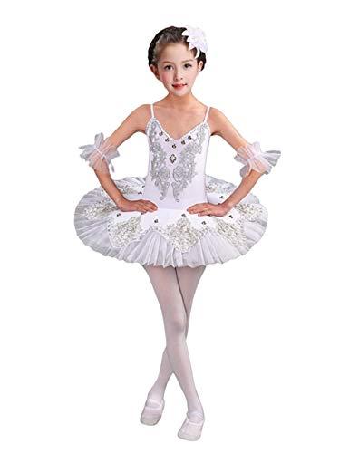 besbomig Mädchen Elegant Tüll Balletttanz-Tutu-Kleid - Pailletten Perlen Blume Tanzender Trikotrock Performance Kostüme (Ballet Tutu Tanz Kostüm)