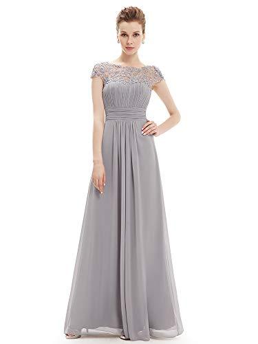 Ever-pretty vestito da sera donna lungo in chiffon maniche corte impero in pizzo grigio 36