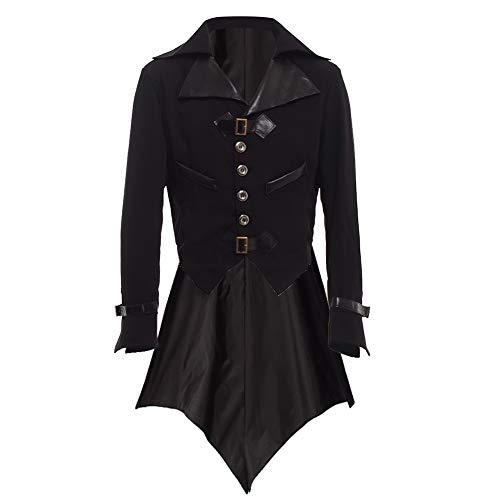 BLESSUME  gotisch viktorianisch  Frack Steampunk  VTG Mantel Jacke  Halloween  Cosplay Kostüm (L, Schwarz)