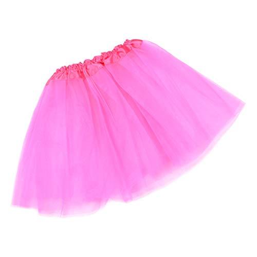Haptian 12 Farben Frauen Erwachsene DREI Schicht Tüll Tutu Ballett Rock Plissiert Süß Candy Farbe Rüschen Mesh Pettiskirt Hochzeit Party Unterrock Minikleid(Rose Rot-1 Stück)