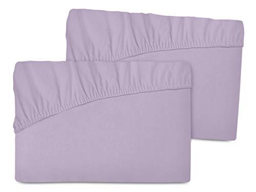 Doppelpack - Feinbiber-Spannbetttücher aus 100% Baumwolle + ca. 90-100 x 190-200 cm + in 6 Farben + extra fest und absolut blickdicht + made in Germany, flieder