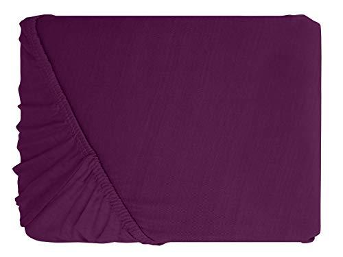 npluseins klassisches Jersey Spannbetttuch – erhältlich in 34 modernen Farben und 6 verschiedenen Größen – 100% Baumwolle, 70 x 140 cm, lila - 2