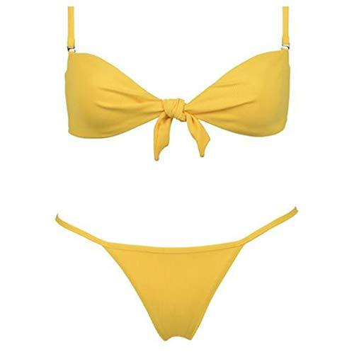 Lyguy Bikini-Set, Zweiteiliger Bikini für Damen, Schulterfrei, Abnehmbare Träger, Bindeknoten, Vorderer BH, T-Rücken, Dreiecksboden, Tanga-Badeanzug, Volltonfarbe, Beachwear Gelb S