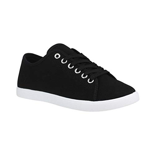 Elara Basic Sneakers | Sportlich Bequeme Turnschuhe | Low Schnürer | chunkyrayan CL33318 Black-40 - Low Sneaker