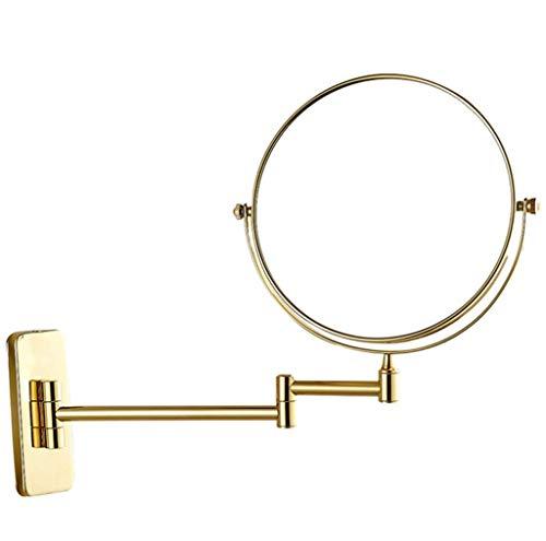 BYCDD Kosmetikspiegel zur Wandmontage, Badezimmer Beauty Spiegel mit 7-facher Vergrößerung, Ideal zum Schminken und Rasieren,Gold_8 inch -