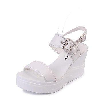 RUGAI-UE Estate Moda Donna Sandali Casual PU scarpe tacchi comfort,verde scuro,US8 / EU39 / UK6 / CN39 White