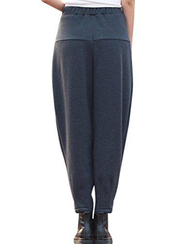 Youlee Damen Winter Elastische Taille Haremshose mit Vlies Grau