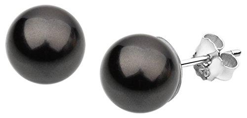 Nenalina Silber Damen-Ohrringe Perlen Ohrstecker mit Swarovski Elementen 8 mm schwarze Perlen, 842401-197