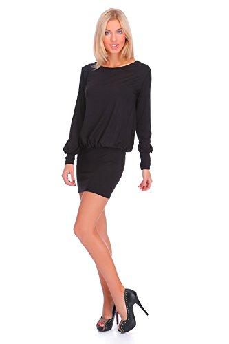 Futuro Fashion Elegant Femmes Mini Robe Col Bateau Manches Longues 8998 Noir