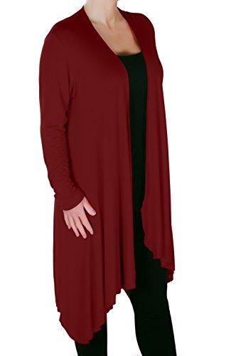 Eyecatch - Della Grand Asymétrique Dames Désinvolte Cascade Cardigan Aux Femmes Haussement D'Épaules Ouvert Cardigan Vin