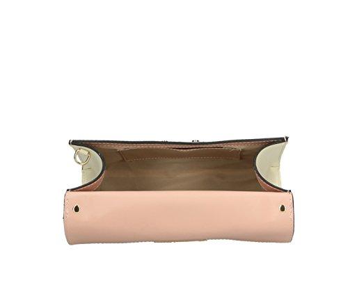 Frauen klassische Handtasche Henkeltasche Schultertasche aus echtem Leder, Hergestellt in Italien 27x19x11cm Rosa-Beige