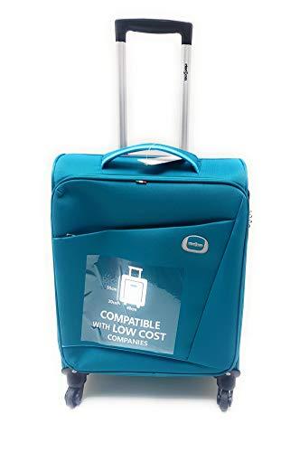 Trolley Clacson cm. 55 x 40 x 20 Bagaglio a mano 4 Ruote Semirigido Impermeabile Idoneo Low Cost Ryanair (Petrolio)