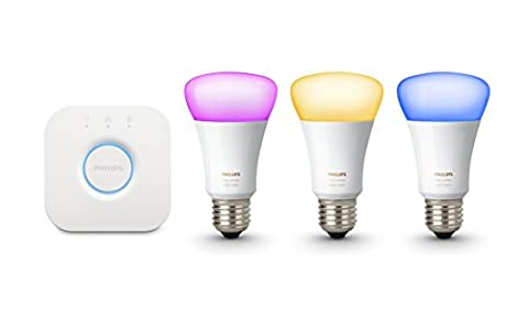 Philips Hue White and Colour Ambiance Wireless Lighting E27 Starter Kit, 3 x Philips Hue 10W E27 Richer Colour Bulbs, 1 x Hue Bridge 2.0, Apple Home Kit Enabled, Works with