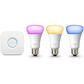Philips Hue White and Colour Ambiance Wireless Lighting E27 Starter Kit, 3 x Philips Hue 10W E27 Richer Colour Bulbs, 1 x Hue Bridge 2.0, Apple Home Kit Enabled, Works with Alexa
