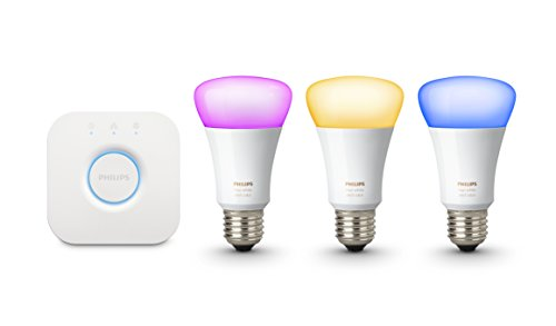 Philips Hue White and Colour Ambiance Wireless Lighting E27 Starter Kit, 3 x Philips Hue 9 W E27 Richer Colour Bulbs, 1 x Hue Bridge 2.0, Apple Home Kit Enabled, Works with Alexa