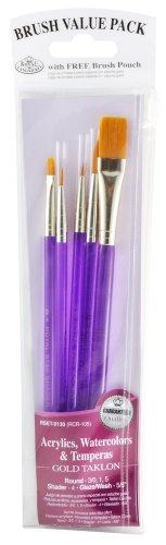 Royal & Langnickel Royal Zip N' Close Gold Taklon Acrylic Handle Variety 5-Piece Brush Set by Royal & Langnickel - Zip-n-griff