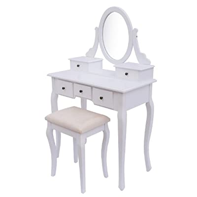 Homcom Antique Style Shabby Chic Dressing Table with Vanity Mirror & Stool - White - cheap UK dressing table store.