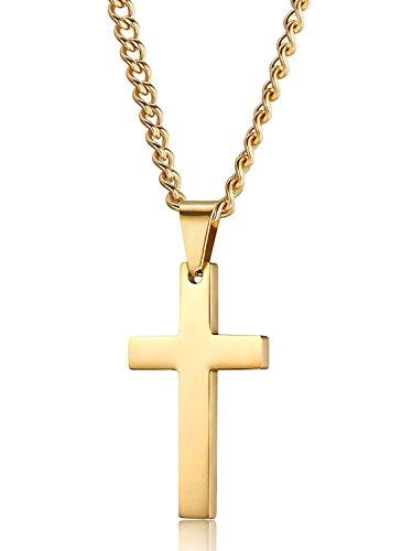 Jstyle kreuz anhänger aus Edelstahl Kreuzanhänger Goldfarbe mit 56cm Halskette für Herren Damen Frauen