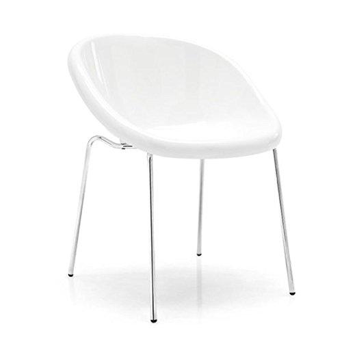 Outlet calligaris 2 sedie bloom cs/1390 struttura metallo cromato scocca policarbonato trasparente bianco ottico cucina sala bar caffetteria (bianco ottico)