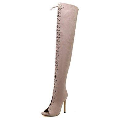 Rtry Femmes Chaussures Nubuck Cuir Automne Printemps Confort Nouveauté Mode Bottes Bottes Talon Stiletto Peep Toe Cuisse-haute Bottes À Lacets Pour La Fête Et Us8 / Eu39 / Uk6 / Cn39