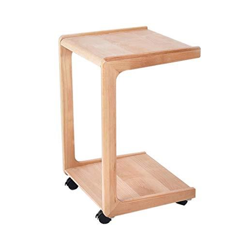 M-JH Table d'appoint, Support Mobile d'ordinateur Portable de Table d'opération latérale de Table Basse de Sofa de Sofa Mobile en Bois sur roulettes de Stockage (Couleur : A)
