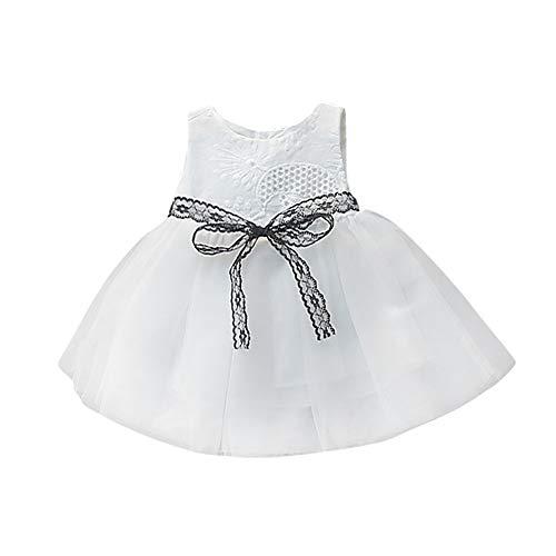 feiXIANG Neugeborenes Baby Tutu Kleid Bowknot Prinzessin Kleidung ärmelloses Spitze Net Garn Rock Säugling Kleider 6M-24M(Weiß,70)