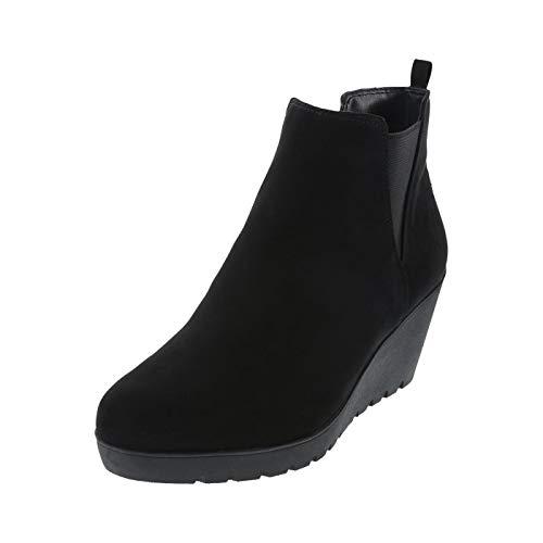 59bb23deff3 dexflex Comfort Black Women s Selma Comfort Wedge Boot 5.5 Wide