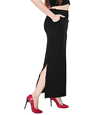 Bfly Women's Cotton Hosiery Straight Skirt -2 Front Pocket(Black)