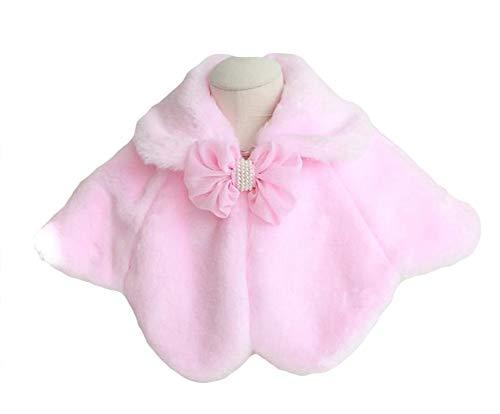 Sk studio bambine e ragazze giacca pelliccia ecologica bolero stola coprispalle cappotti spalla mantella con l'arco