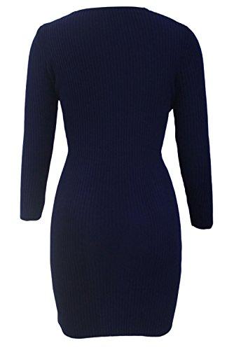 EOZY Sweater Femmes Robes Pulls Col V Printemps Tricot Moulant Soirée Bleu