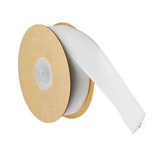 FLAMEER 5 Yards Samt Band Samtband Dekoband Gewebeband Schleifenband 25mm - Weiß, 25 mm