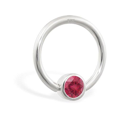 14K Gold Captive Bead Ring mit Lab Erstellt Ruby, Gauge: 18(1.0mm)