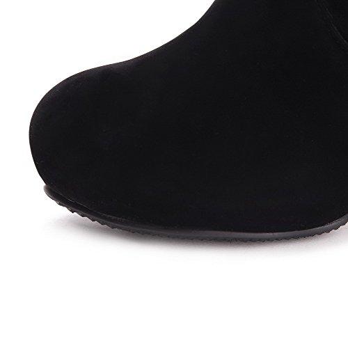VogueZone009 Damen Blend-Materialien Rund Zehe Hoch-Spitze Stiefel Schwarz-Metallstück