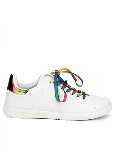 Cendriyon, Baskets colors lacet GAYSY MODA Chaussures Femme Blanc