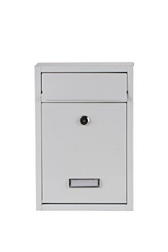 Briefkasten Wandbriefkasten extra Lackschicht gegen Rost Mailbox Briefkastenanlage Postkasten Stahl Schwarz oder Weiß in 2 Größen 30x36x10cm oder 22x32x10cm Montagematerial und 2 Schlüssel inclusive (Weiß 22x32cm)