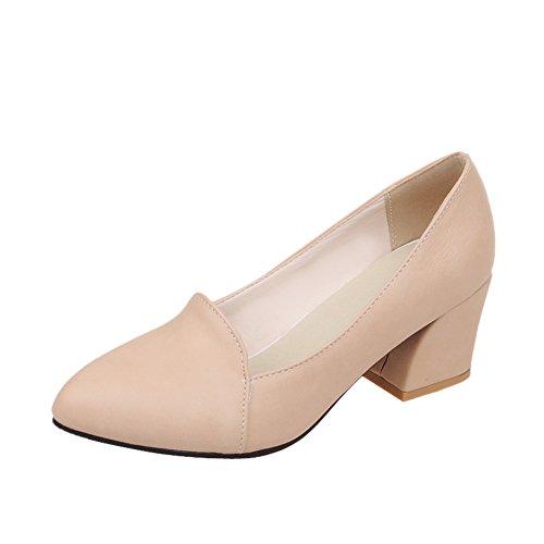 Mee Shoes Damen simpel bequem spitz Geschlossen dicker Absatz Shallow Mund Pumps Aprikose