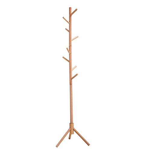 NYDZDM 176 cm Holz Garderobe Ständer 8 Haken Kleidung Stehen Baum Stilvolle Hut Mantel Schiene Ständer Rack Kleidung Jacke Lagerung Kleiderbügel Organizer Natürliche (Kleidung Ständer Rack,)