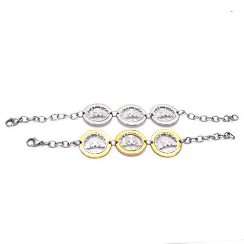 SMNSZ Heißer romantische Stil Zwei Farbe hohl matt rund mit Schmetterling Edelstahl Armband für - Stilo Opal Matt
