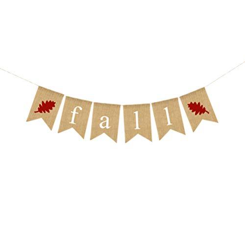 BESTOYARD Herbst Buchstaben Banner Thanksgiving Party Dekoration Banner hängenden Leinen Sackleinen Banner Swallowtail Pull Flag