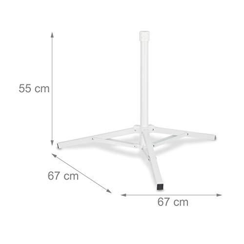 /32/mm maneggevole Orecchini estendibile per aste Taglia 25/ Relaxdays Supporto per ombrellone Bianco Pieghevole a Tre Gambe
