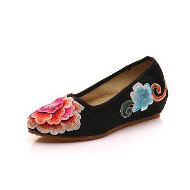 Wuyulunbi @ Chaussures Femme Toile Printemps Automne Confort Nouvelles Flats Point Pour Office & Carrière Robe Rouge Noir Beige Us8.5 / Eu39 / Uk6.5 / Cn40