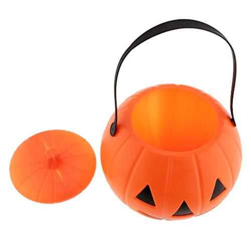 Baoblaze Halloween Eimer Kürbis Eimer Süßigkeiten Halter Kürbis Korb mit Griff für ()