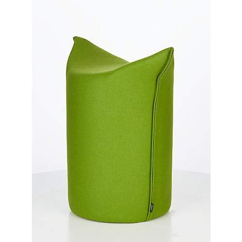 WERTHER Zipfelhocker Polsterhocker Sitzhocker Indoor Grün inkl. Leder-Griffschlaufe 3 Jahre Garantie Sitzhöhe 500 mm B 620 x T 360 x H 600 mm