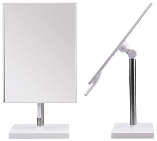 Kosmetex Großer Stand-Spiegel, weiß mit Drehscharnier -Griff 16 x 21 cm Kosmetik-Spiegel neigbar,...