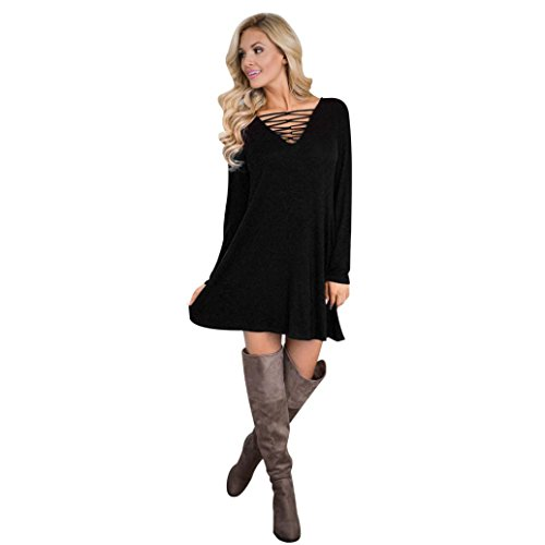 Damen Kleid ,LMMVP Frauen Langarm V Ansatz Strand Partei Knielang Kleid (S, Black) (Wrap-stil Kleid Röcke)