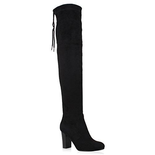 Wildleder Über Das Knie Stiefel (Damen Stiefel Overknees Wildleder-Optik Blockabsatz Langschaftstiefel Boots Schleifen Schuhe 106265 Schwarz 37 Flandell)