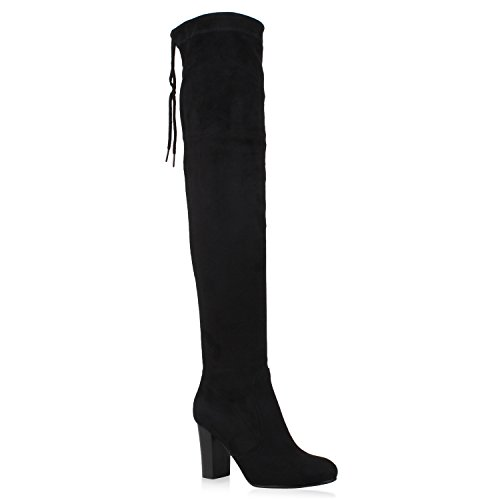Damen Stiefel Overknees Wildleder-Optik Blockabsatz Langschaftstiefel Boots Schleifen Schuhe 106265 Schwarz 38 Flandell