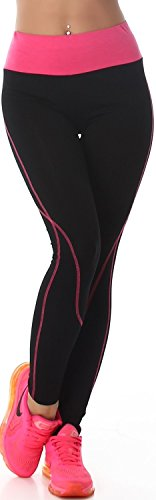 Power Flower donna lunga Leggings Fitness tempo libero bicolore vita alta (32-40) Schwarz-Pink 42/44/46